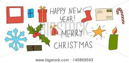 vector illustration of Christmas greeting card with caption Merry Christmas and Happy New Year and set of elements: gifts, candy, star, candle, envelope, photo frame, bell, snowflake, boot, holly.