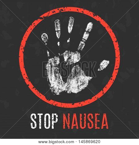 Conceptual vector illustration. Human diseases. Stop nausea.