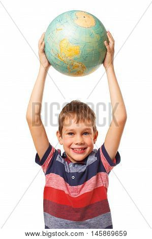 happy boy with the globe in hands. smiling child raised up a globe and holding it like a ball. the concept of education, peace in the world, traveling. looking at camera. isolated on white background