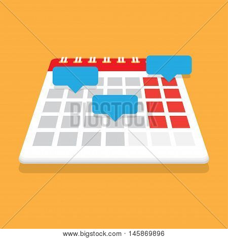 Planning calendar. Record in the calendar with reminders. Organizer. Vector illustration. Flat design style. Date calendar.