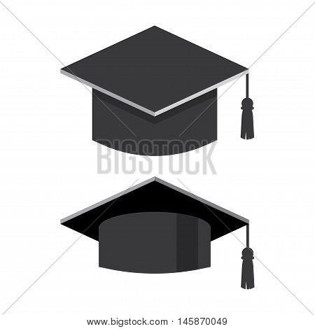 Graduation cap flat vector illustration. Graduation hat logo. Academic caps. Graduation cap isolated on the background. Graduation cap flat icon.