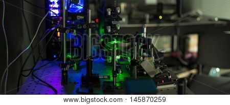green lasers in the laboratory laser beams among the optical elements the study of light and cognitive phenomena