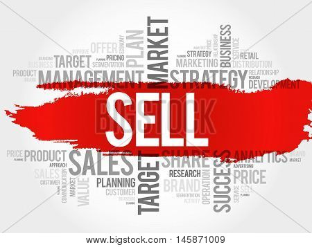 Sell word cloud business concept, presentation background