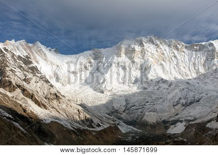 Morning view of Mount Annapurna from Annapurna base camp round Annapurna circuit trekking trail Nepal