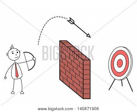 Cartoon man shooting arrow over a wall hitting a target board