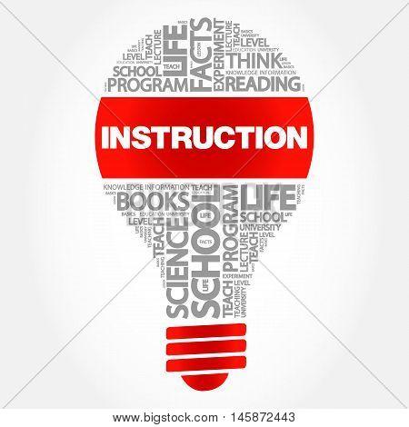 INSTRUCTION bulb word cloud business concept, presentation background