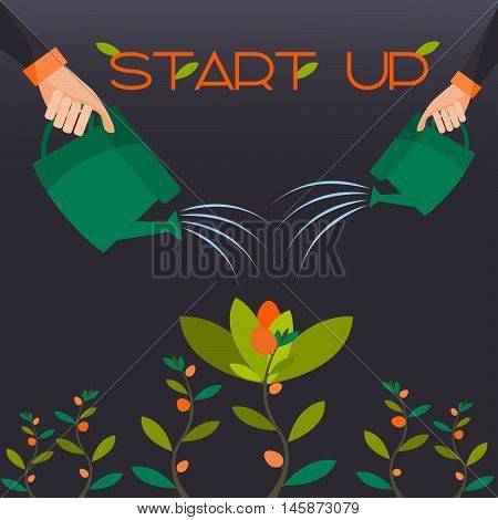 Start-up in the form of a flower attachment profit expectation.Vector
