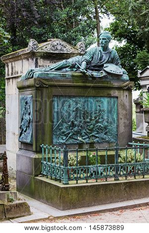 Paris France - Jule 11 2016: Monument at Theodore Gericault's grave in the Pere Lachaise cemetery. World's most visited cemetery attracting thousands of visitors to graves of those who have enhanced French life over past 200 years.
