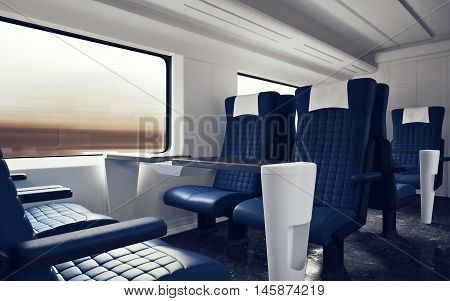 Interior Inside First Class Cabin Modern Speed Express Train.Empty Blue Chairs Window.Comfortable Seats and Table Business Travel. 3d rendering.High Textured Row Materials. Motion Blurred Background