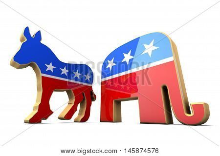 Isolated Democrat Party and Republican Party Symbols. 3d