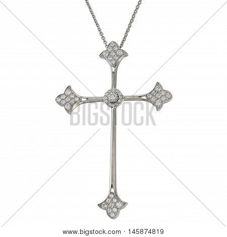 White gold chain with pendant in the shape of a cross