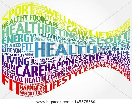 Health word cloud, health concept presentation background