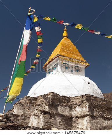 Stupa near Dingboche village with prayer flags - way to mount Everest base camp - Khumbu valley - Nepal