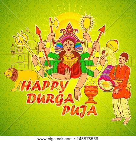 Vector design of Man playing Dhak Dhol of Bengal for Durga Puja in Indian art style