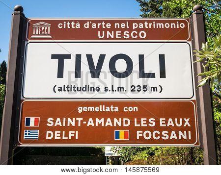 Tivoli city information sign, Lazio , Italy