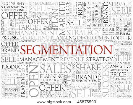 Segmentation word cloud business concept, presentation background