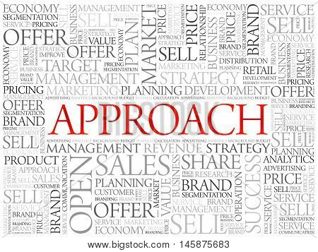 Approach word cloud business concept, presentation background