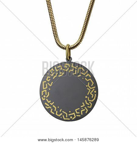 Gold chain with a black pendant of tantalum