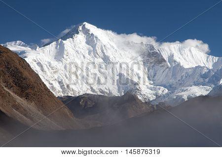 View of mount Cho Oyu three passes trek and Cho Oyu base camp trek Sagarmatha national park Khumbu valley Nepal