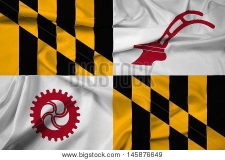 Waving Flag Of Baltimore County, Maryland, Usa