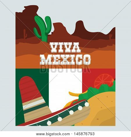Cactus taco and hat. Mexico landmark and mexican culture theme. Colorful design. Vector illustration