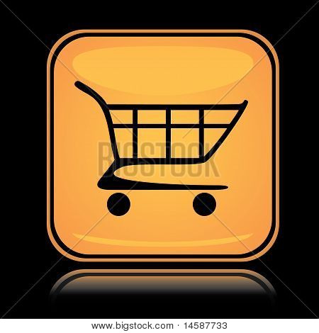 Yellow square icon shopping cart