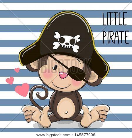 Cute cartoon Monkey in a pirate hat