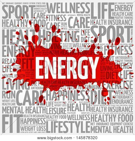 ENERGY word cloud health concept, presentation background