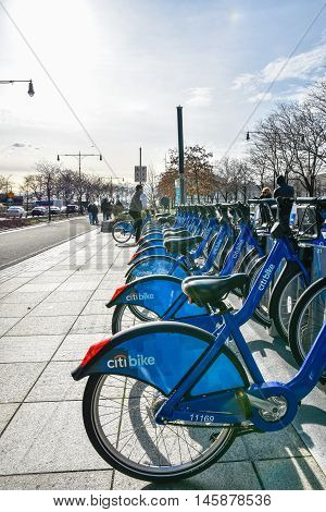 NEW YORK, USA - DECEMBER 28, 2015: Citi Bike rental service on the Hudson River Greenway. Manhattan New York, USA.