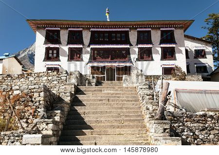 Tengboche Monastery the best monastery in Khumbu valley trek to Everest base camp Sagarmatha national park Nepal poster
