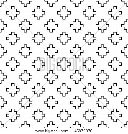 Black and white seamless pattern with ziggurat motif in ethnic style