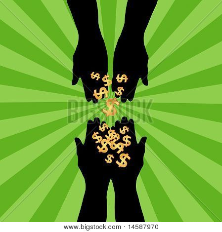 Silhouette of hands giving dollars