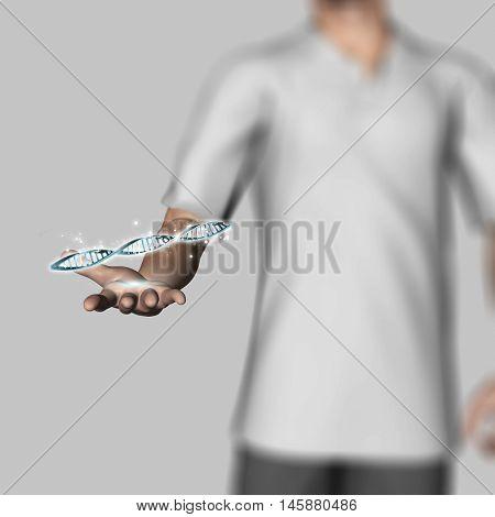 3D render of a defocussed male figure holding DNA strands