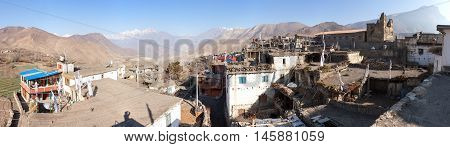 Panoramic view of Jharkot village one of the best villages in round Annapurna circuit trekking trail route Nepal