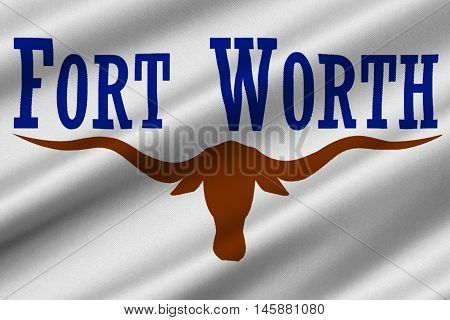 Flag of Fort Worth is the city in Texas United States. 3D illustration