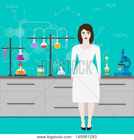 Chemists scientists equipment. Laboratory assistant. flat design workspace concept. Chemistry and physics biology infographic icons. Laboratory lab with alembic vial hourglass dropper