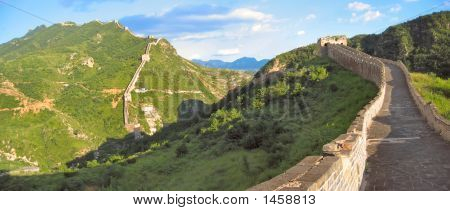 Walking On The Great Wall Of China, China, Panorama