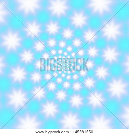 Fluffy snowflakes whirl on a sky blue background, raster illustration. Blurry snowflakes spiral on with subtle matte texture. Inspiring winter abstract may be used for the Christmas and New Year design.