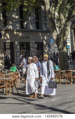 People Walk In The Town Of Marseilles