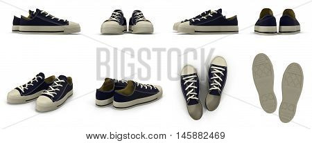 Convenient for sports mens sneakers. Presented on a white background. 3D Illustration
