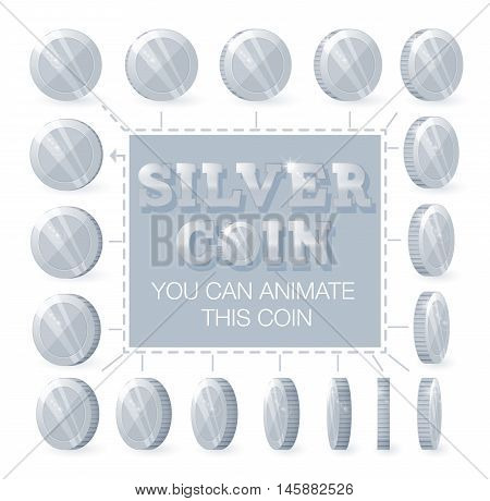 Coins rotation frames for web game or app interface. Silver coins. Coins for animation.