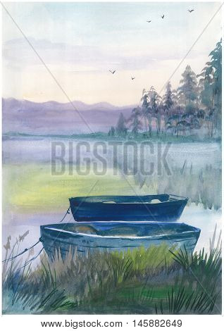 Watercolor boat on the river in harmony with nature. Could be used for: posters, cards, invitations and greetings.