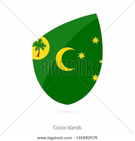 Flag of Cocos Islands in the style of Rugby icon. Vector Illustration.