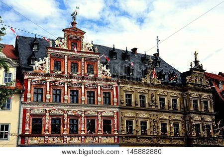 Erfurt Germany - JUne 2 2013: 1584 Renaissance Zum Breiten Herd Haus with bas relief designs and statues in the Fischmarkt (fish market square)