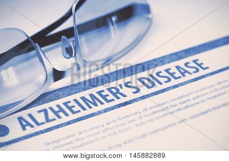 Alzheimers Disease - Printed Diagnosis with Blurred Text on Blue Background with Pair of Spectacles. Medicine Concept. 3D Rendering.