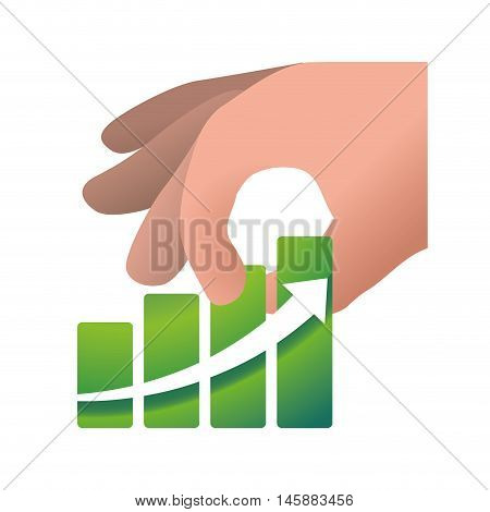 hand and growth arrow icon. Money financial and economy theme. Isolated design. Vector illustration