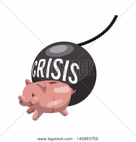 piggy and crisis bomb icon. Money financial and economy theme. Isolated design. Vector illustration