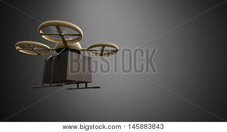 Green Military Color Material Generic Design Remote Control Air Drone Flying Black Box Under Empty Surface.Blank Dark Background.Global Cargo Express Delivery.Wide, Motion Blur effect.3D rendering
