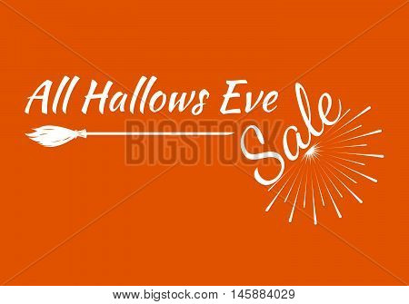 All Hallows Greeting Card Calligraphy With Sunrays. Sunburst Happy Halloween Banner Or Poster. Vecto