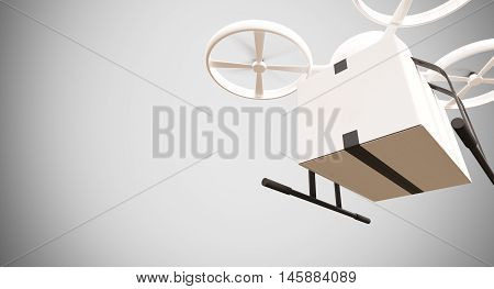 Emergency Generic Design Remote Control Air Drone Flying White Box Under Empty Surface.Blank Light Background.Global Cargo Aid Supplies Express Delivery.Wide, Motion Blur effect.3D rendering
